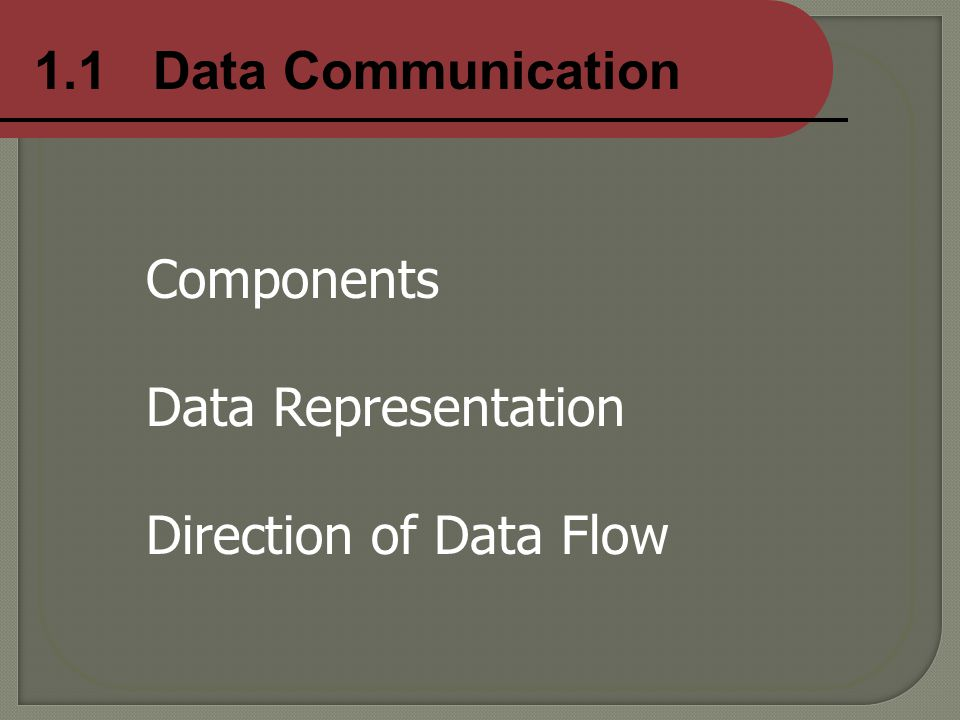 1.1 Data Communication Components Data Representation Direction of Data Flow
