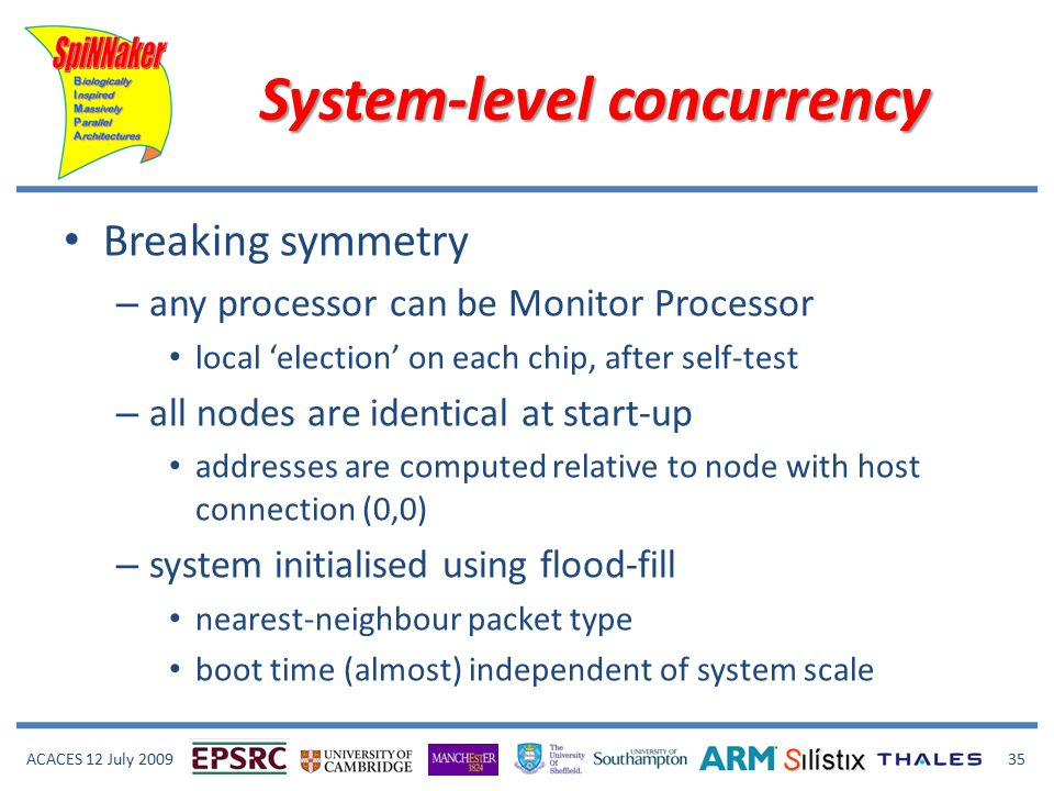 ACACES 12 July 2009 35 System-level concurrency Breaking symmetry – any processor can be Monitor Processor local 'election' on each chip, after self-test – all nodes are identical at start-up addresses are computed relative to node with host connection (0,0) – system initialised using flood-fill nearest-neighbour packet type boot time (almost) independent of system scale