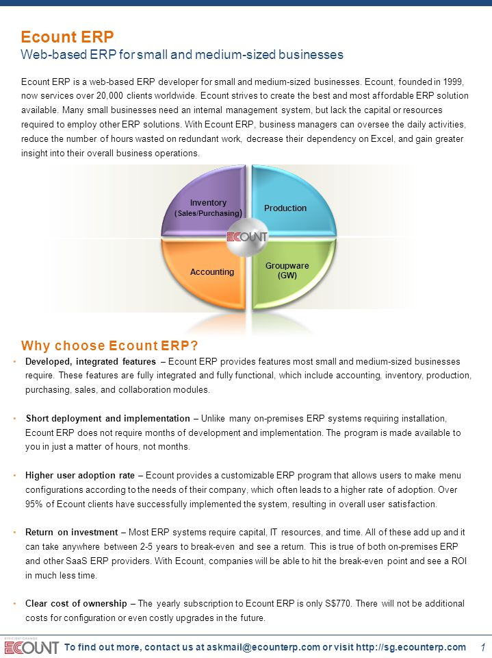 2 To find out more, contact us at askmail@ecounterp.com or visit http://sg.ecounterp.com Scalable program – Ecount ERP is designed to grow and adapt with the evolving business environment.