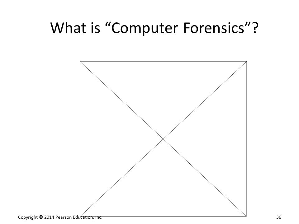 "Copyright © 2014 Pearson Education, Inc. 36 What is ""Computer Forensics""?"