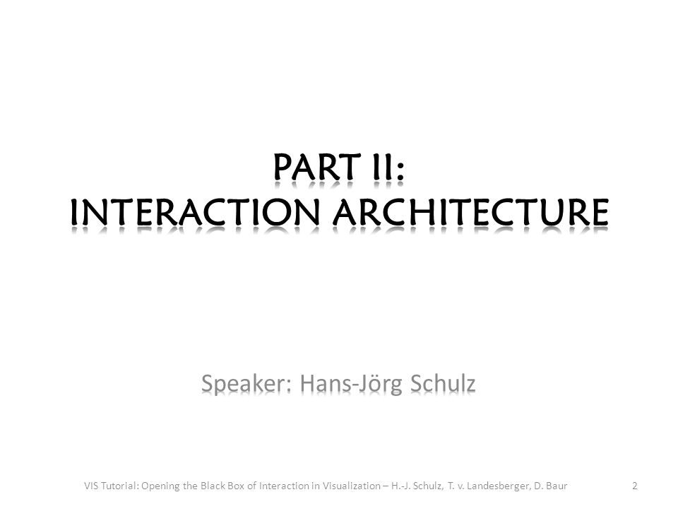 Interaction Architecture 3VIS Tutorial: Opening the Black Box of Interaction in Visualization – H.-J.