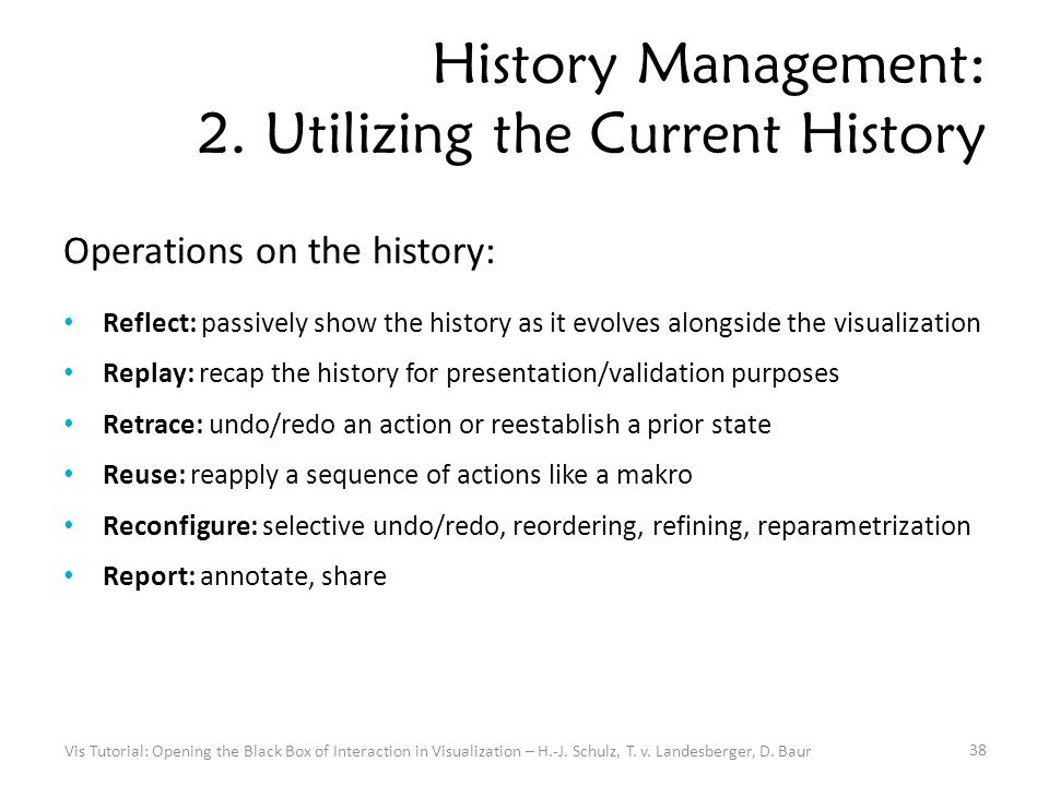 History Management: 2. Utilizing the Current History Operations on the history: Reflect: passively show the history as it evolves alongside the visual