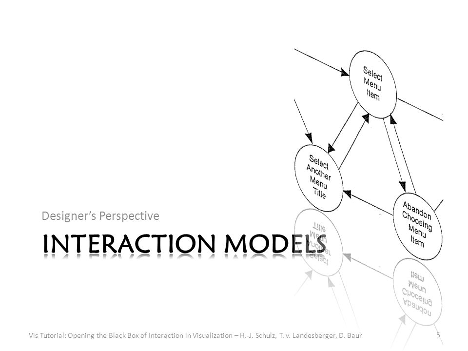 Symbolic Models Notations (Task Design Space) Vis Tutorial: Opening the Black Box of Interaction in Visualization – H.-J.