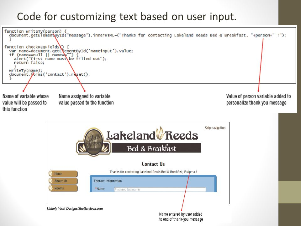 JavaScript can be used to reconfigure Web pages based on user activities or inputs Done by accessing, storing, manipulating, and writing values that are based on user input Helps create Web pages customized in response to user inputs Example: specifying a user's name, taken from a form field, when displaying a thank- you or greeting message