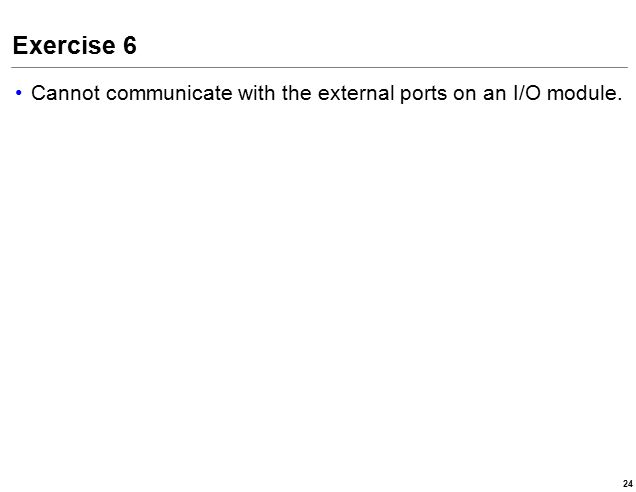 Exercise 6 Cannot communicate with the external ports on an I/O module. 24