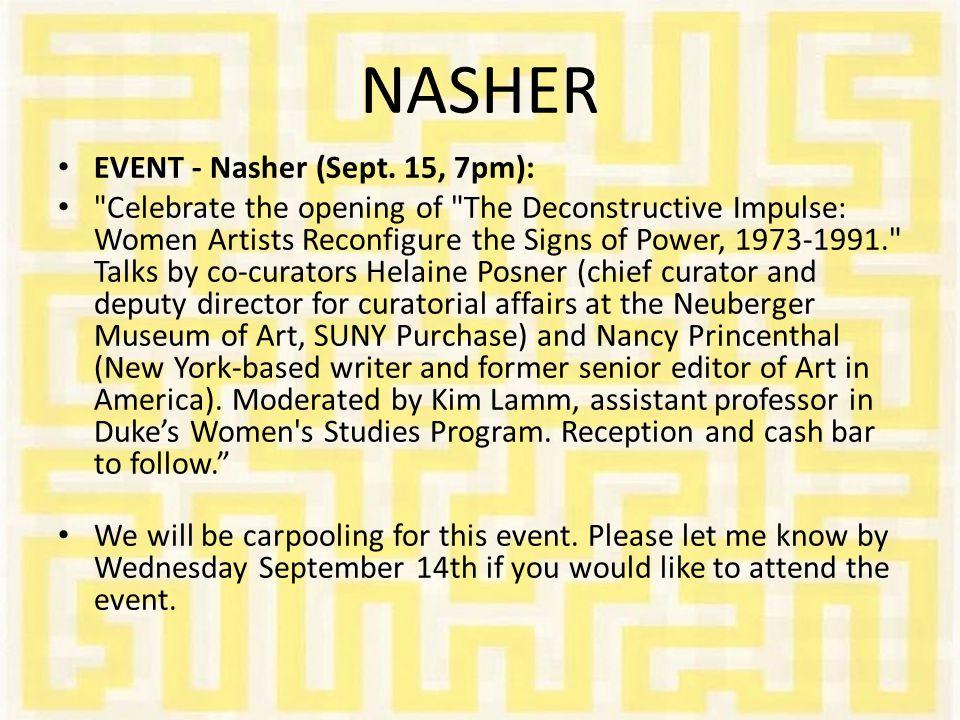 NASHER EVENT - Nasher (Sept. 15, 7pm):