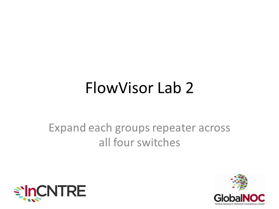FlowVisor Lab 2 Expand each groups repeater across all four switches
