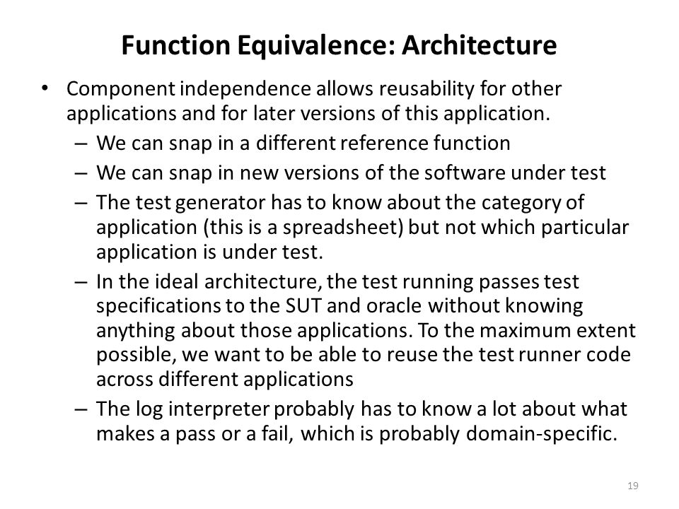 Function Equivalence: Architecture Component independence allows reusability for other applications and for later versions of this application.