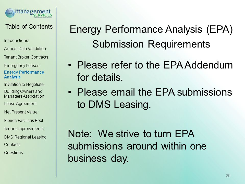 Table of Contents Energy Performance Analysis (EPA) Submission Requirements Please refer to the EPA Addendum for details.