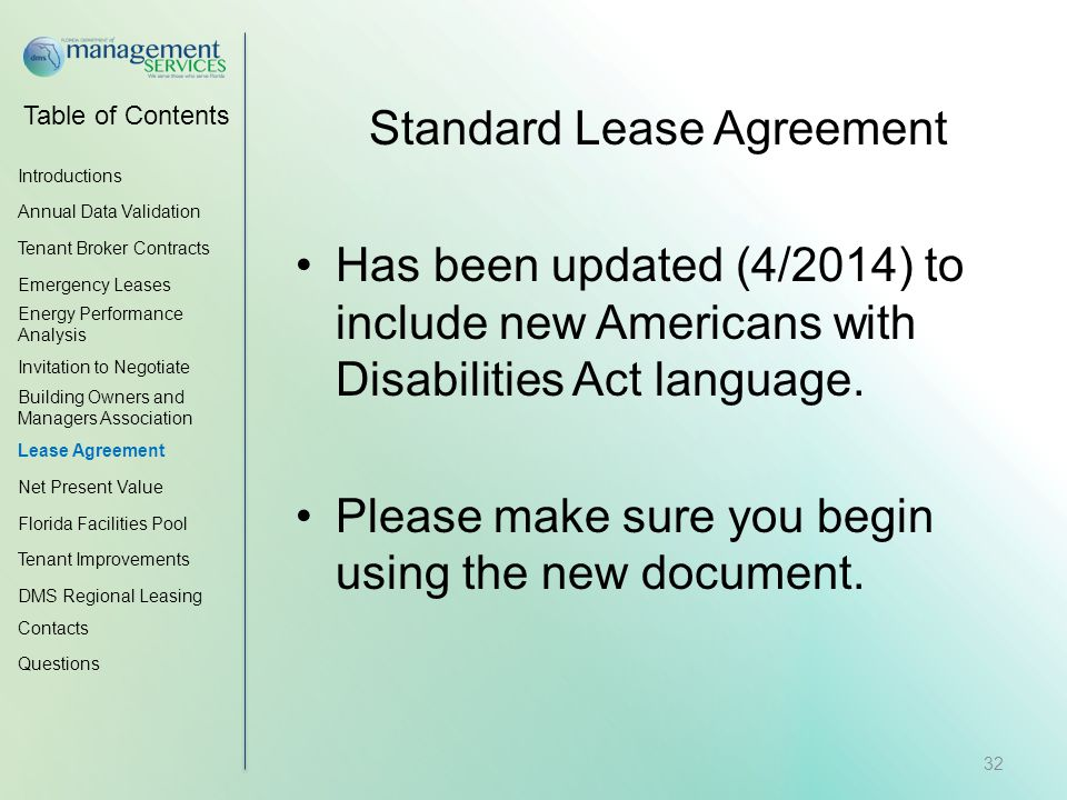 Table of Contents Standard Lease Agreement Has been updated (4/2014) to include new Americans with Disabilities Act language.