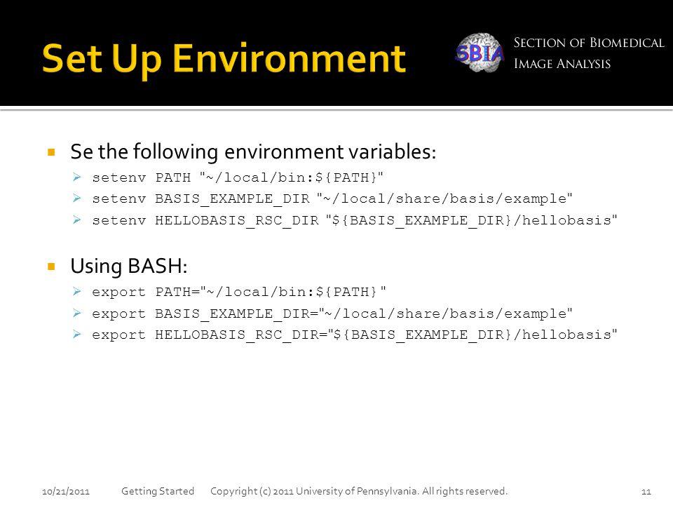  Se the following environment variables:  setenv PATH ~/local/bin:${PATH}  setenv BASIS_EXAMPLE_DIR ~/local/share/basis/example  setenv HELLOBASIS_RSC_DIR ${BASIS_EXAMPLE_DIR}/hellobasis  Using BASH:  export PATH= ~/local/bin:${PATH}  export BASIS_EXAMPLE_DIR= ~/local/share/basis/example  export HELLOBASIS_RSC_DIR= ${BASIS_EXAMPLE_DIR}/hellobasis 10/21/2011Getting Started Copyright (c) 2011 University of Pennsylvania.