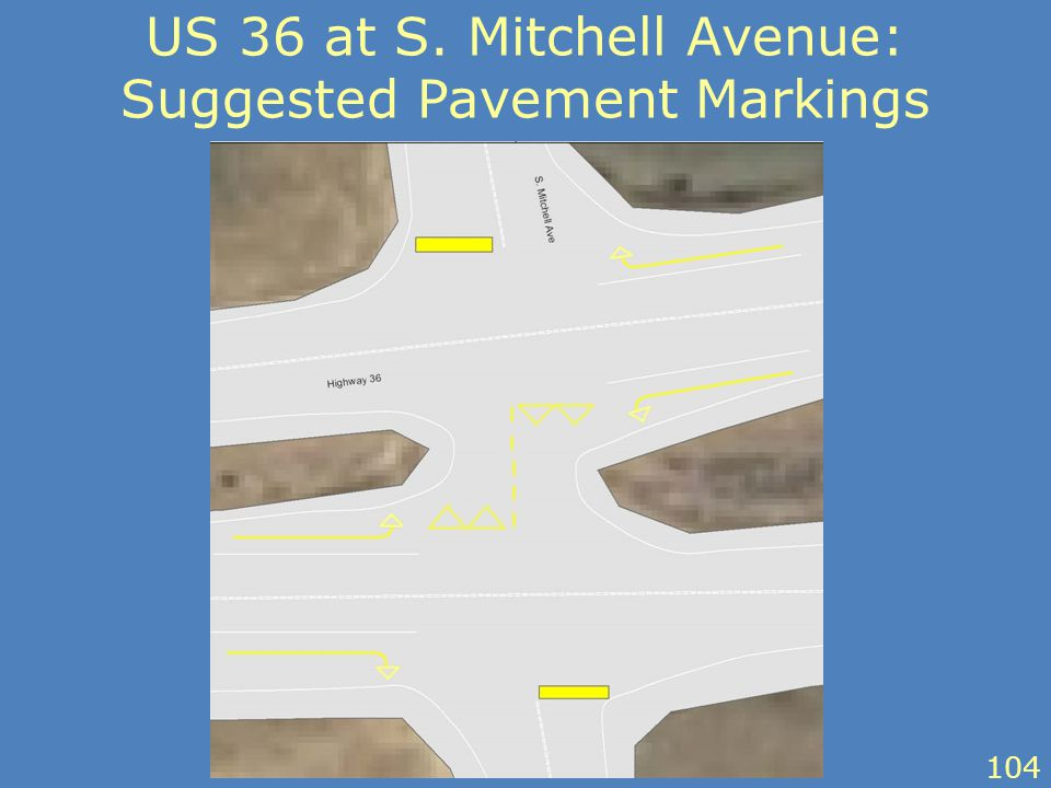 US 36 at S. Mitchell Avenue: Suggested Pavement Markings 104