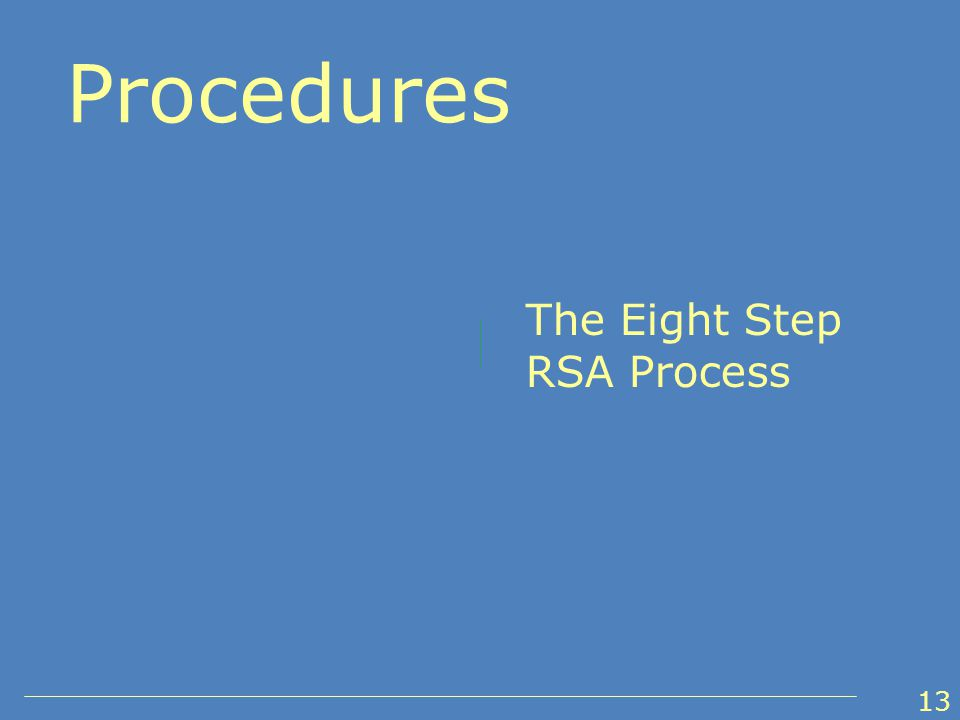 The Eight Step RSA Process Procedures 13