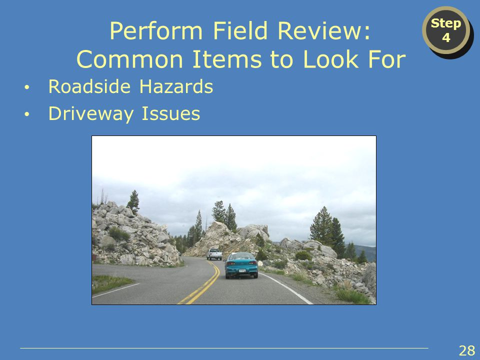 Step 4 Step 4 Perform Field Review: Common Items to Look For Roadside Hazards Driveway Issues 28