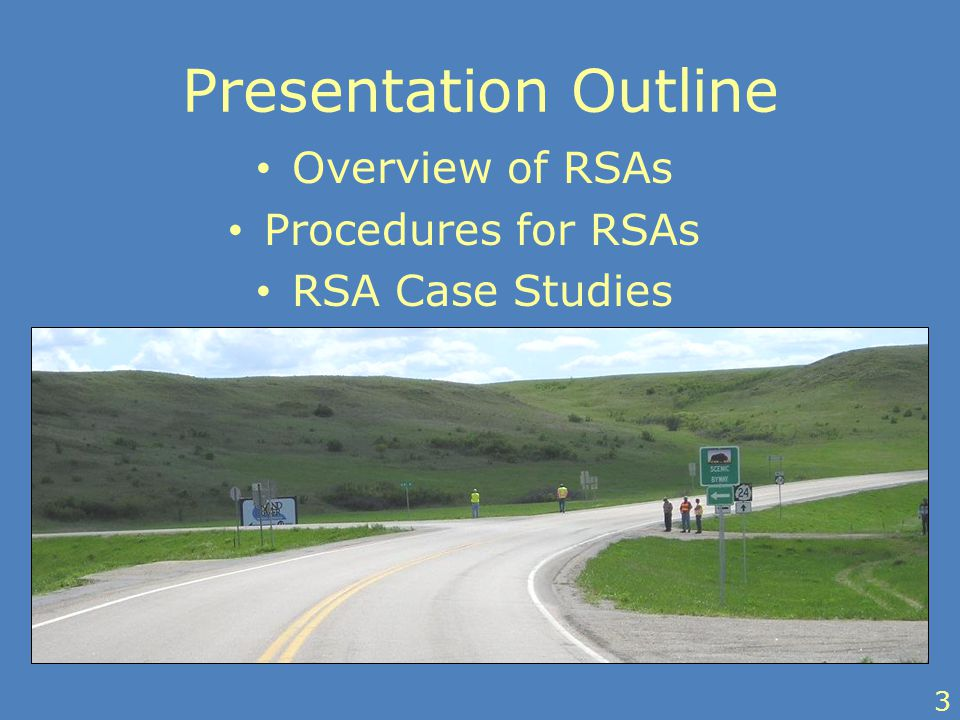 Presentation Outline Overview of RSAs Procedures for RSAs RSA Case Studies 3