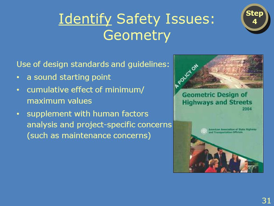 Identify Safety Issues: Geometry Use of design standards and guidelines: a sound starting point cumulative effect of minimum/ maximum values supplement with human factors analysis and project-specific concerns (such as maintenance concerns) Step 4 Step 4 31