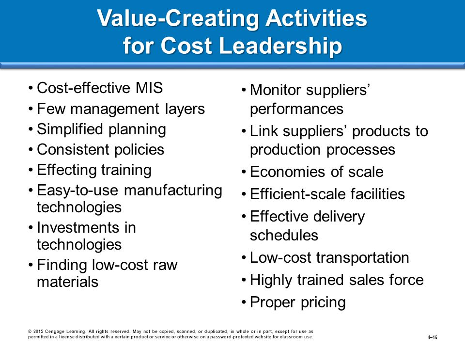 Cost-effective MIS Few management layers Simplified planning Consistent policies Effecting training Easy-to-use manufacturing technologies Investments