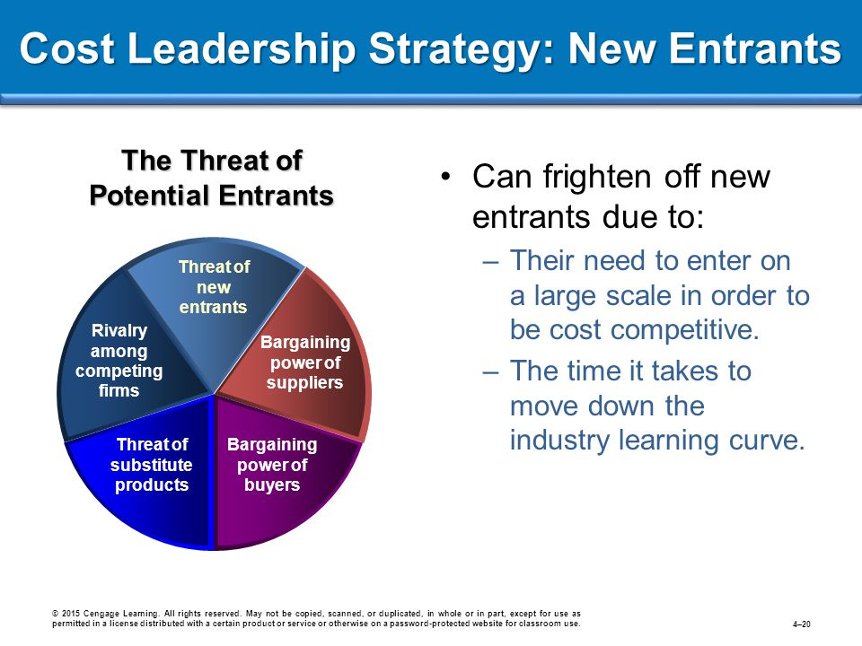 Cost Leadership Strategy: New Entrants © 2015 Cengage Learning. All rights reserved. May not be copied, scanned, or duplicated, in whole or in part, e