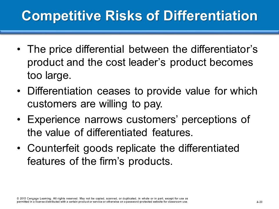 Competitive Risks of Differentiation The price differential between the differentiator's product and the cost leader's product becomes too large. Diff