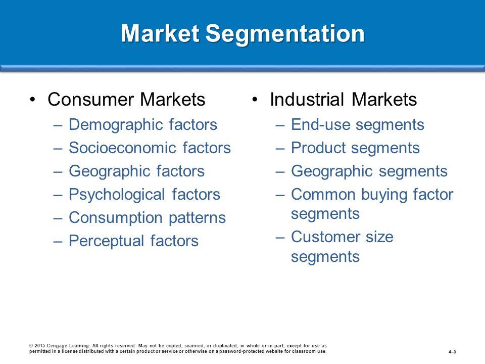 Consumer Markets –Demographic factors –Socioeconomic factors –Geographic factors –Psychological factors –Consumption patterns –Perceptual factors Indu