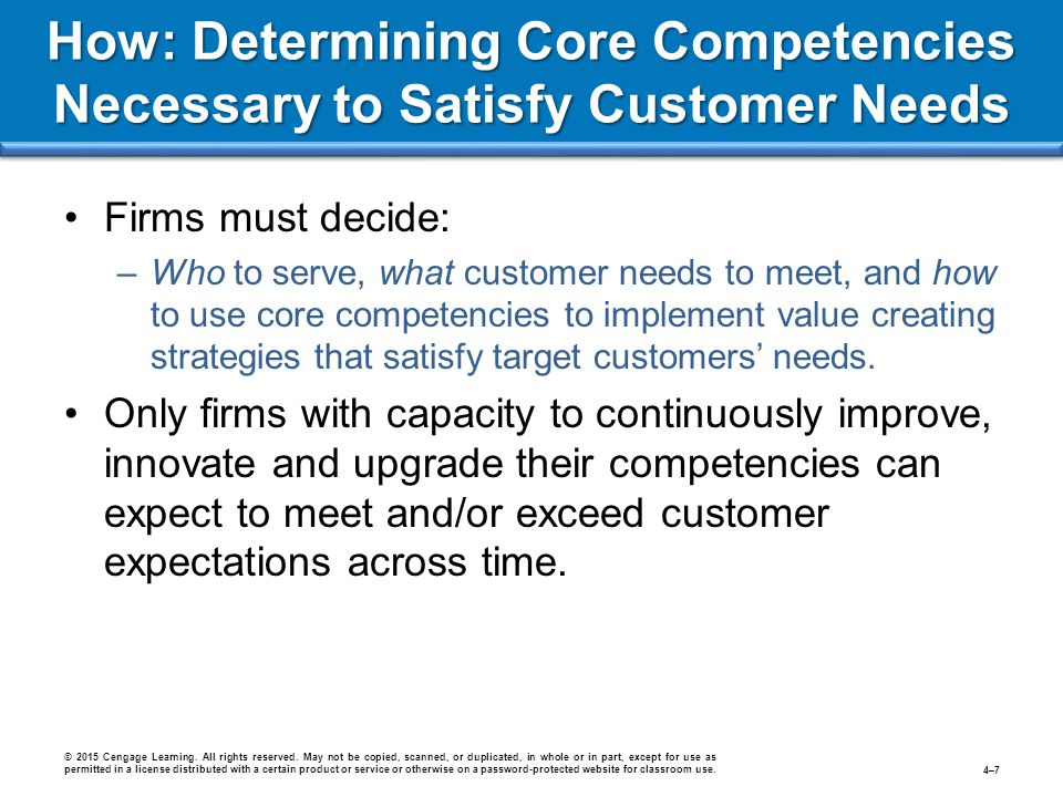 How: Determining Core Competencies Necessary to Satisfy Customer Needs Firms must decide: –Who to serve, what customer needs to meet, and how to use c