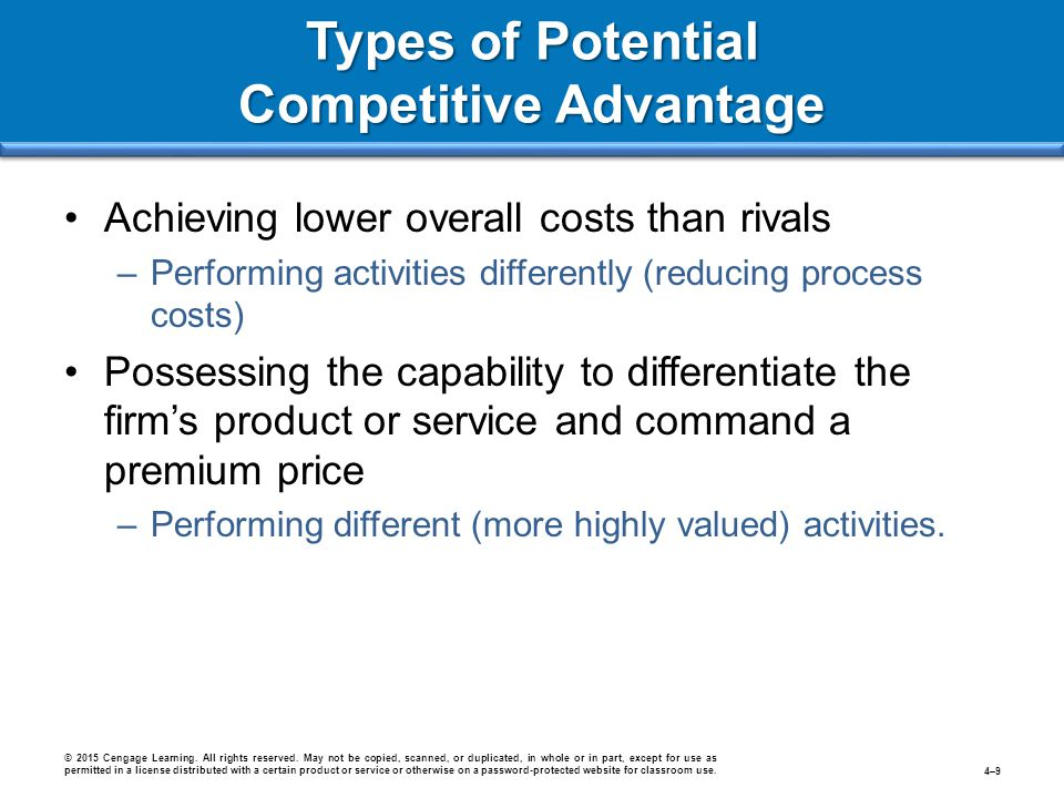 Types of Potential Competitive Advantage Achieving lower overall costs than rivals –Performing activities differently (reducing process costs) Possess