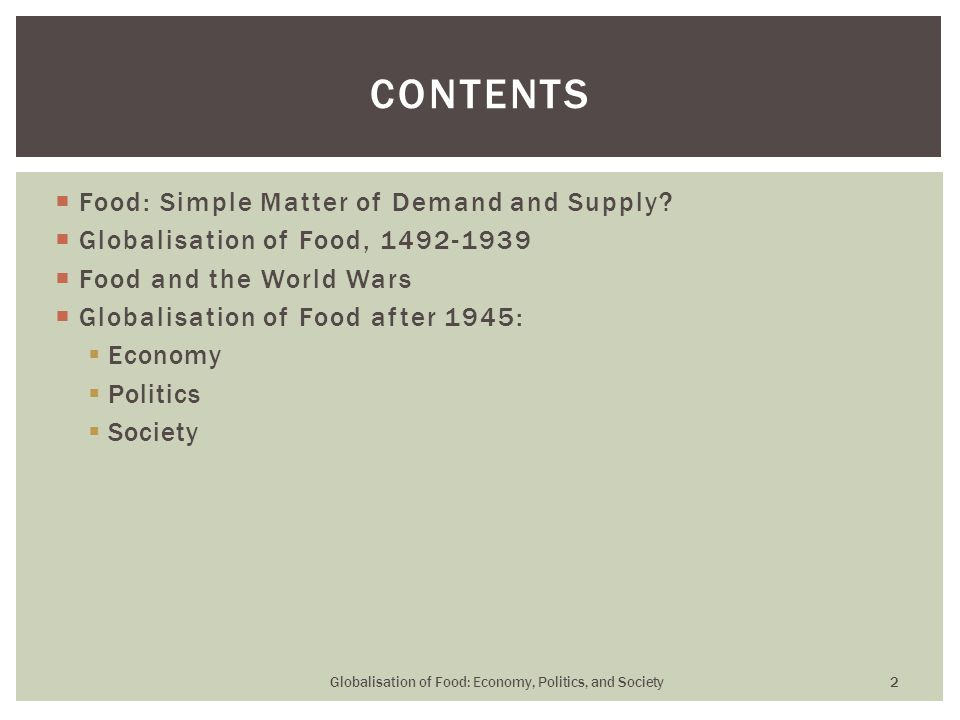  Food: Simple Matter of Demand and Supply.