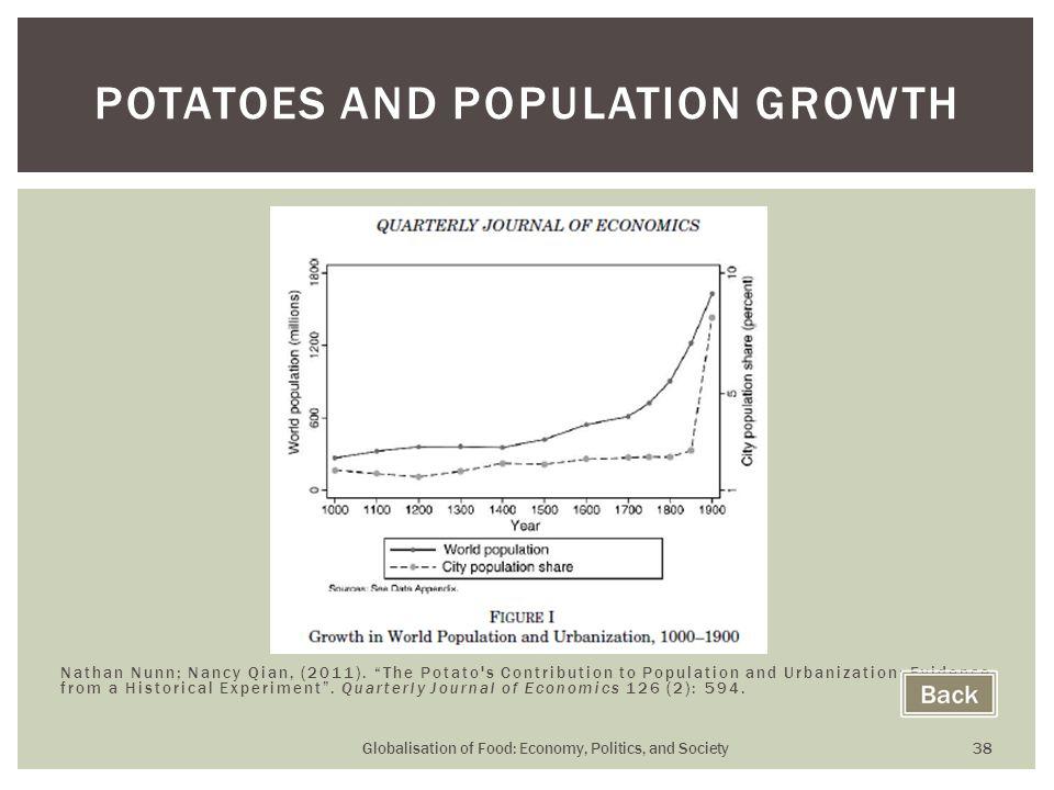 Globalisation of Food: Economy, Politics, and Society 38 POTATOES AND POPULATION GROWTH Nathan Nunn; Nancy Qian, (2011).