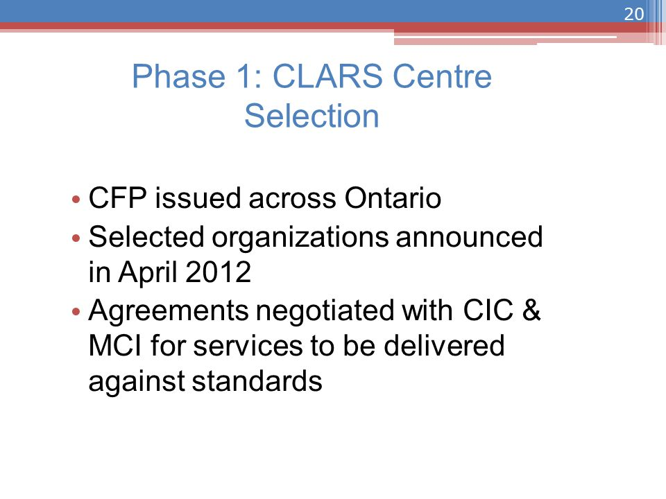 CFP issued across Ontario Selected organizations announced in April 2012 Agreements negotiated with CIC & MCI for services to be delivered against standards Phase 1: CLARS Centre Selection 20