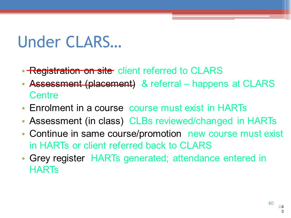 40 Under CLARS…  4040 Registration on site client referred to CLARS Assessment (placement) & referral – happens at CLARS Centre Enrolment in a course course must exist in HARTs Assessment (in class) CLBs reviewed/changed in HARTs Continue in same course/promotion new course must exist in HARTs or client referred back to CLARS Grey register HARTs generated; attendance entered in HARTs