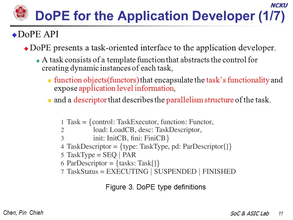 NCKU Chen, Pin Chieh SoC & ASIC Lab 11 DoPE for the Application Developer (1/7)  DoPE API  DoPE presents a task-oriented interface to the application developer.