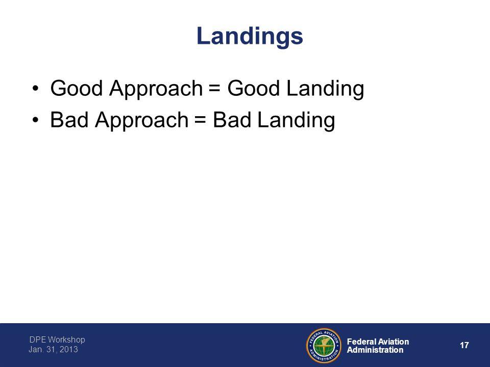 17 Federal Aviation Administration DPE Workshop Jan. 31, 2013 Landings Good Approach = Good Landing Bad Approach = Bad Landing