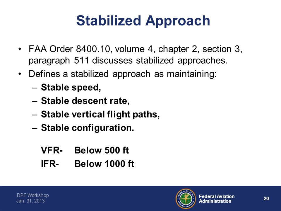 20 Federal Aviation Administration DPE Workshop Jan. 31, 2013 Stabilized Approach FAA Order 8400.10, volume 4, chapter 2, section 3, paragraph 511 dis
