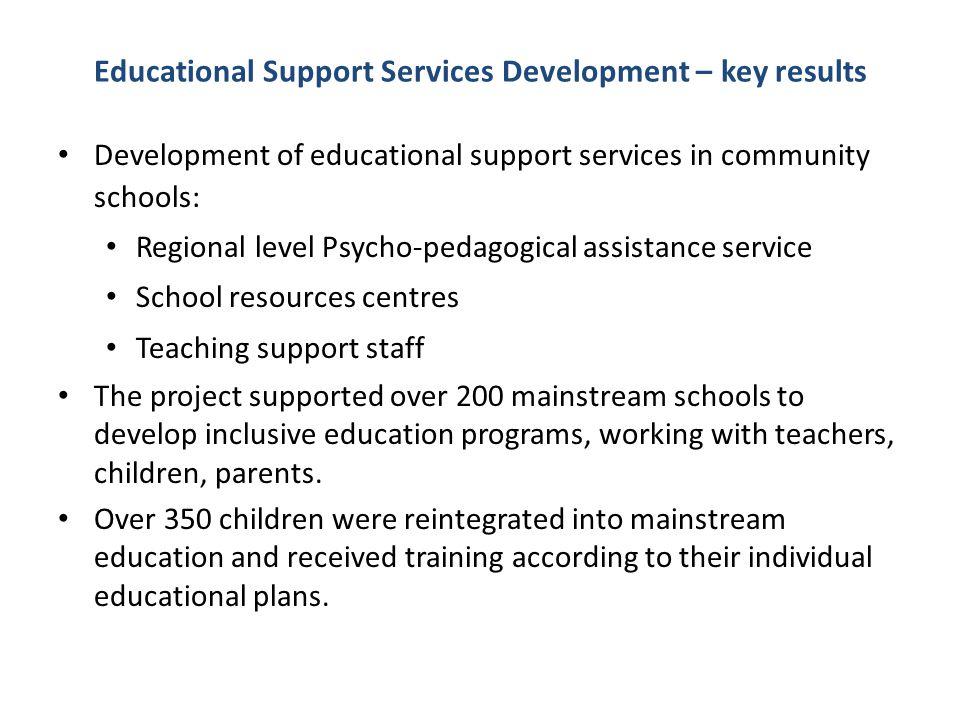 Educational Support Services Development – key results Development of educational support services in community schools: Regional level Psycho-pedagog