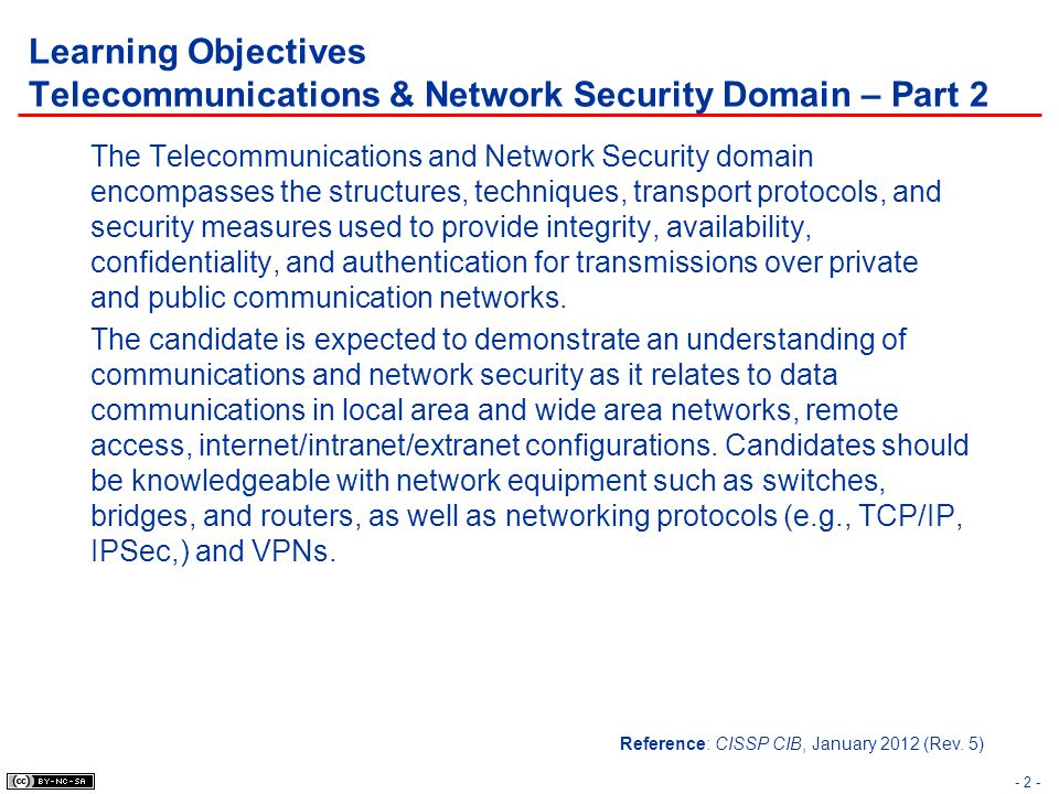 - 73 - Topics Telecommunications & Network Security Domain – Part 2 Security Principles & Network Architecture Security Countermeasures and Controls –Physical Layer –Data-Link Layer –IP Network Layer –Transport Layer –Application Layer VPN NAS
