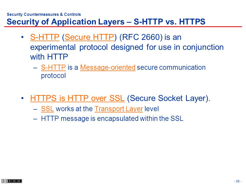 - 68 - Security Countermeasures & Controls Security of Application Layers – S-HTTP vs.