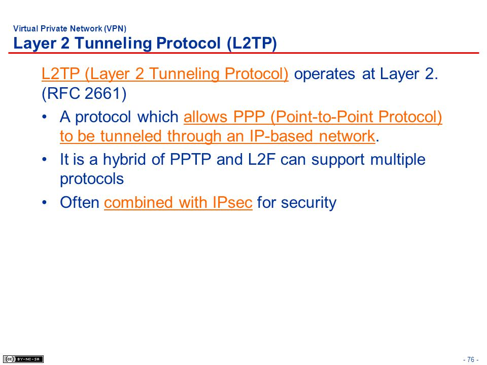 - 76 - Virtual Private Network (VPN) Layer 2 Tunneling Protocol (L2TP) L2TP (Layer 2 Tunneling Protocol) operates at Layer 2.