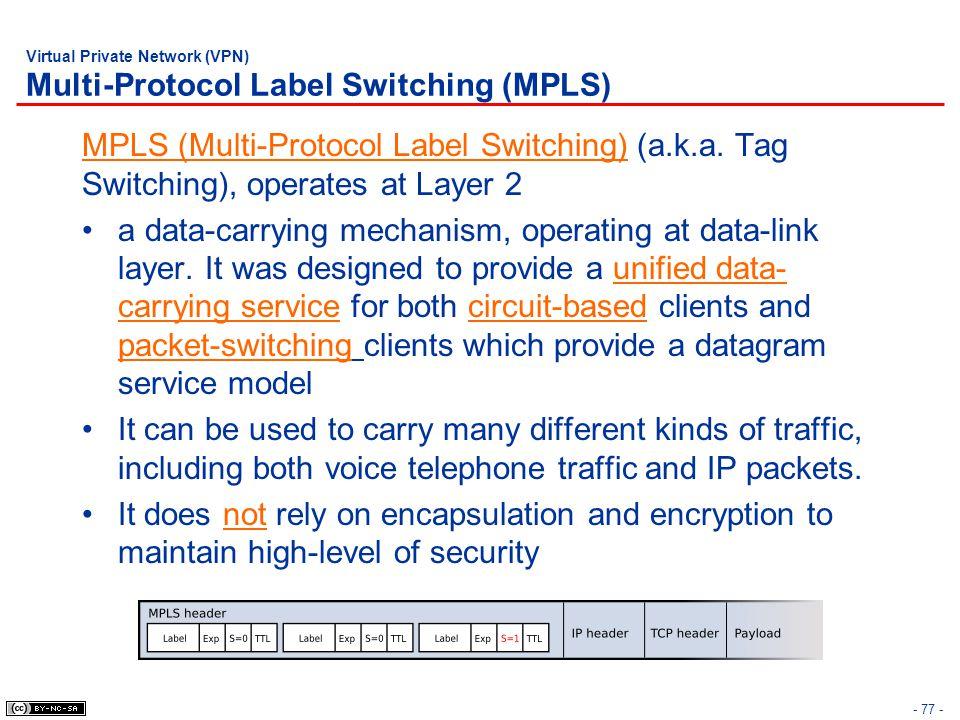 - 77 - Virtual Private Network (VPN) Multi-Protocol Label Switching (MPLS) MPLS (Multi-Protocol Label Switching) (a.k.a.