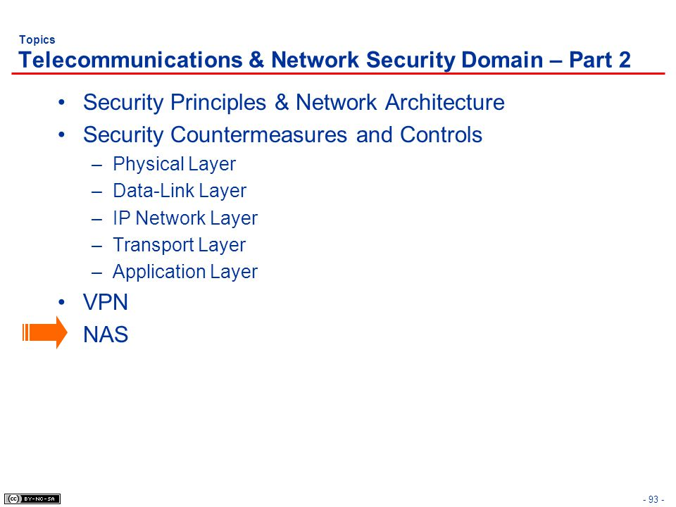 - 93 - Topics Telecommunications & Network Security Domain – Part 2 Security Principles & Network Architecture Security Countermeasures and Controls –Physical Layer –Data-Link Layer –IP Network Layer –Transport Layer –Application Layer VPN NAS