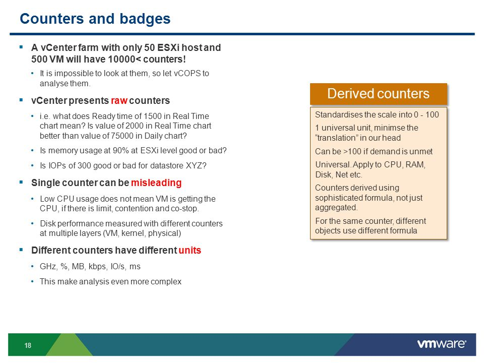 18 Counters and badges  A vCenter farm with only 50 ESXi host and 500 VM will have 10000< counters.