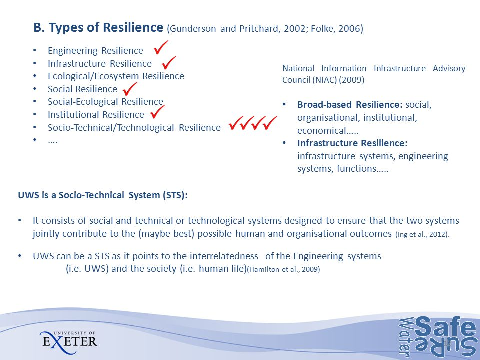 B. Types of Resilience (Gunderson and Pritchard, 2002; Folke, 2006) 12 Engineering Resilience Infrastructure Resilience Ecological/Ecosystem Resilienc