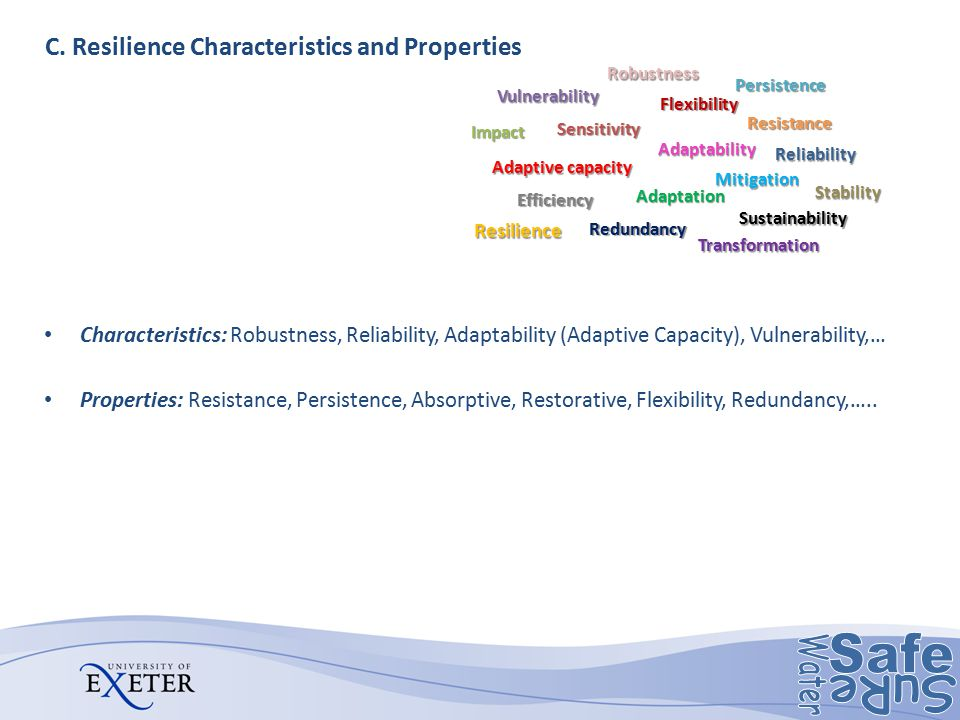 C. Resilience Characteristics and Properties Characteristics: Robustness, Reliability, Adaptability (Adaptive Capacity), Vulnerability,… Properties: R