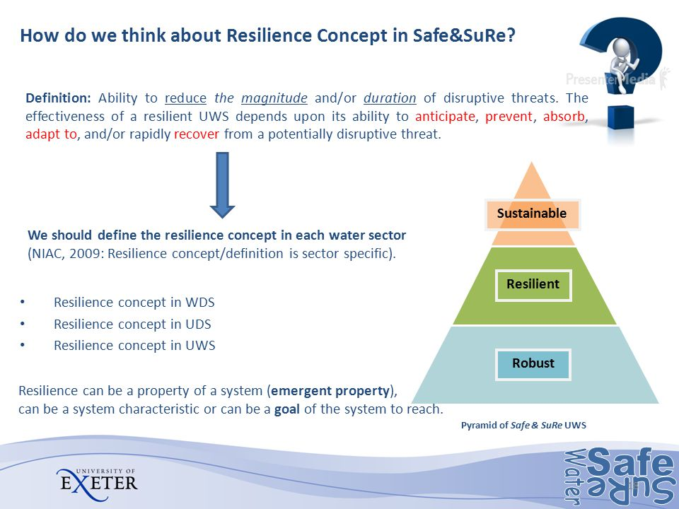 How do we think about Resilience Concept in Safe&SuRe? Resilience concept in WDS Resilience concept in UDS Resilience concept in UWS We should define