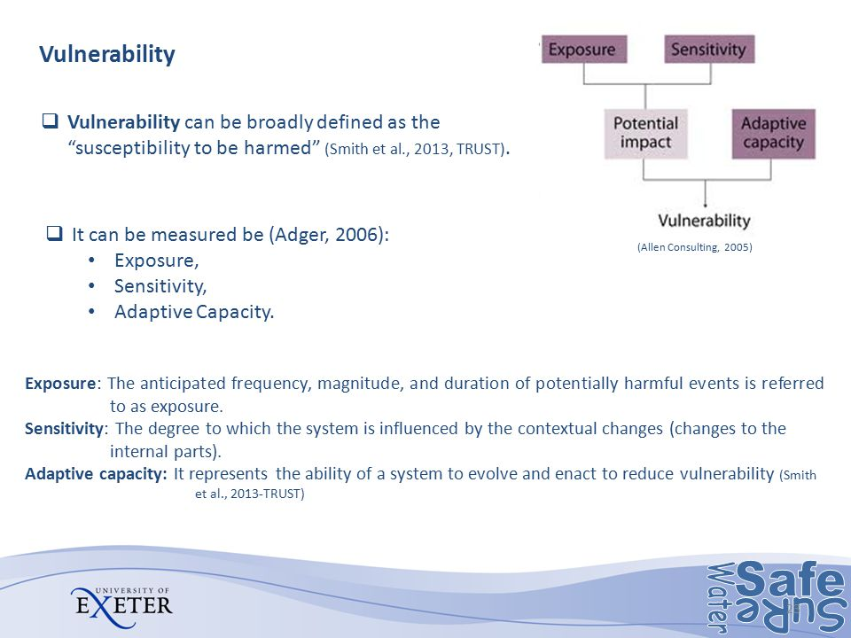Exposure: The anticipated frequency, magnitude, and duration of potentially harmful events is referred to as exposure. Sensitivity: The degree to whic