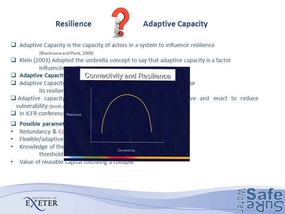 Resilience Adaptive Capacity  Adaptive Capacity is the capacity of actors in a system to influence resilience (Blackmore and Plant, 2009)  Klein (20
