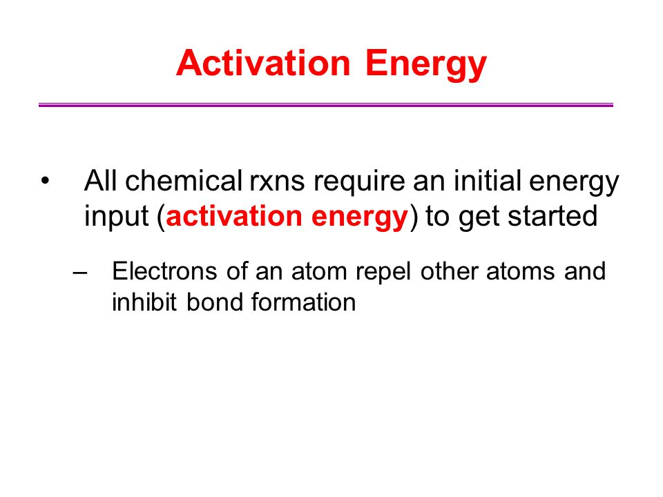 Activation Energy All chemical rxns require an initial energy input (activation energy) to get started –Electrons of an atom repel other atoms and inh