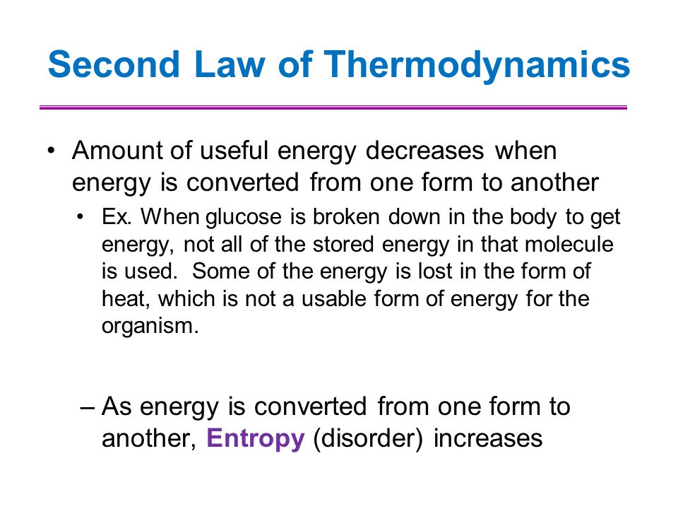 Second Law of Thermodynamics Amount of useful energy decreases when energy is converted from one form to another Ex. When glucose is broken down in th