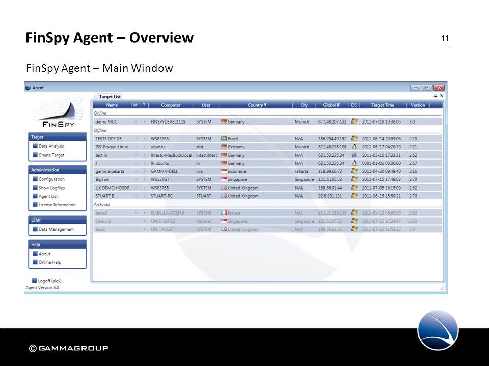 11 FinSpy Agent – Overview FinSpy Agent – Main Window