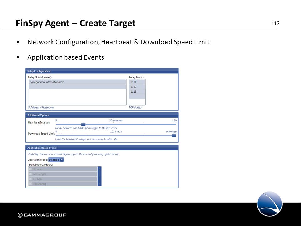 112 FinSpy Agent – Create Target Network Configuration, Heartbeat & Download Speed Limit Application based Events
