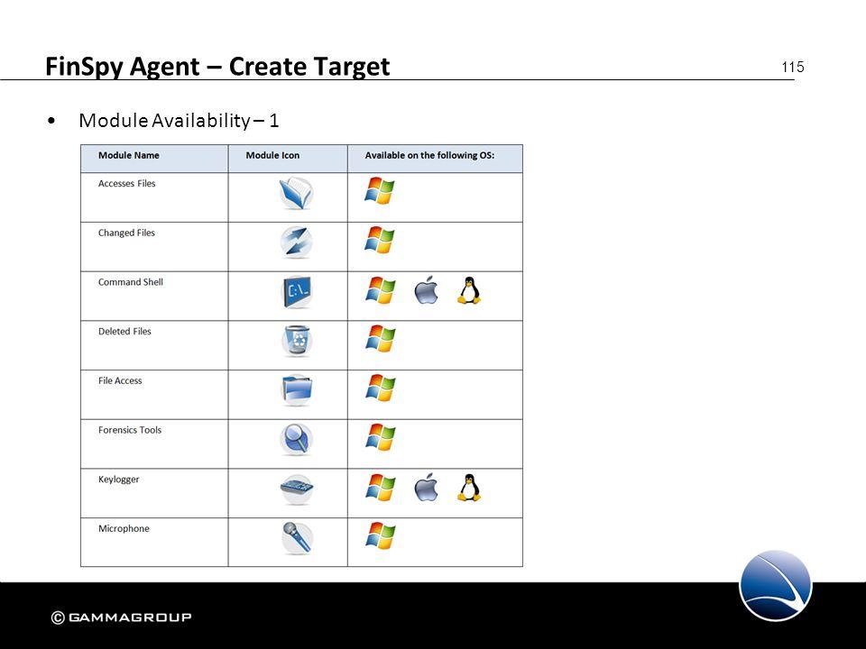 115 FinSpy Agent – Create Target Module Availability – 1